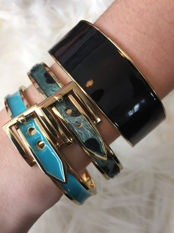 TATIANA • BRACELET ~ Beautiful Blue And Gold Belt Buckle