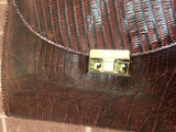 Glamourous Vintage 50's-60's Brown Alligator Print Leather Handbag