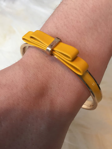 S A N D I • BRACELET ~ Adorably Feminine Yellow Faux Leather Bow On Yellow Enamel With Gold Trim Bangle