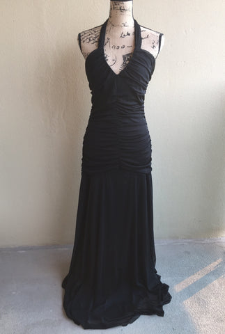 Le Chateau Stunning Floor Length Black Gown With Train Women's Size Large