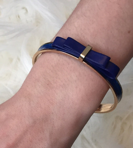 L U C Y • BRACELET~ Delicate & Feminine Blue Faux Leather Bow Adorned Blue & Gold Thin Bangle