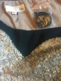 Pniina Strapless LBD With Sweetheart Neckline And Gold Sequins NWOT Women's Size L