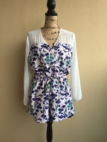 Kenneth Cole Reaction Feminine Floral Romper NWOT Ladies Size Large
