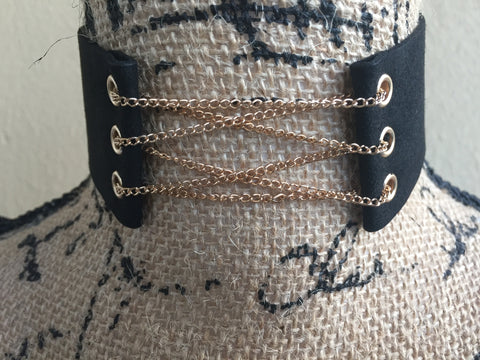 T A N Y A • CHOKER ~ Sexy & Feminine Choker With Gold Chain Lace Up Detail