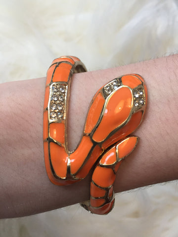 A S H L I N • BRACELET ~ Stunning Orange & Gold Snake With White Rhinestone Accents