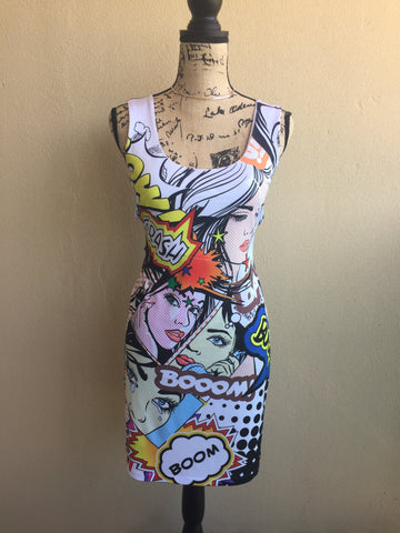 Crimson Ivy Comic Book Dress Ladies Size Large
