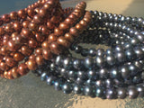"Elegant Black Genuine Freshwater Pearl Necklace 48"" Continuous Strand"