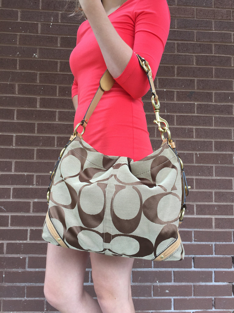 cfa26d76eb Coach Large Classic Handbag With Iconic C Logo And Leather Shoulder Strap  ...