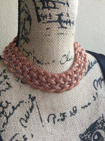 D E I D R E • CHOKER ~ Rose Gold Braided Statement Necklace