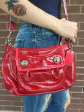 Coach Ruby Red Patent Leather Crossbody Convertible Purse With Detachable Striped Shoulder Strap