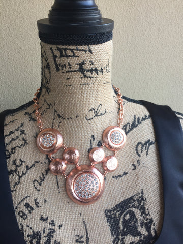 A N N • NECKLACE ~ Beautiful Rose Gold Polka Dot Statement Piece Necklace With White Crystals