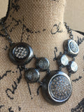 J O A N • NECKLACE ~ Beautiful Gunmetal Polka Dot Statement Piece Necklace In With White Crystals