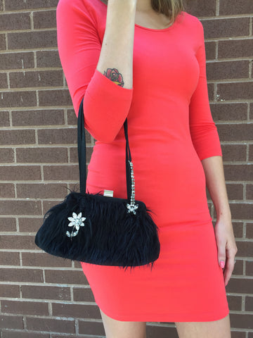 Jeanne Lottie Adorable Faux Fur VINTAGE Handbag With Rhinestone Accents And Removeable Brooch