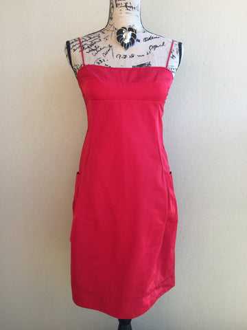 Lida Baday Red Spaghetti Strap Dress With Beautiful Pleated Pockets Women's Size 8