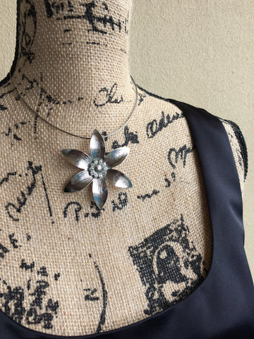 JESSA • CHOKER~ Necklace with Silver Flower Pendant And Silver Multi Wire Choker