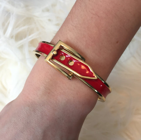 L A N D O N • BRACELET ~ Adorable Red & Gold Belt Buckle