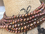 "Elegant Brown Genuine Freshwater Pearl Necklace 48"" Continuous Strand"