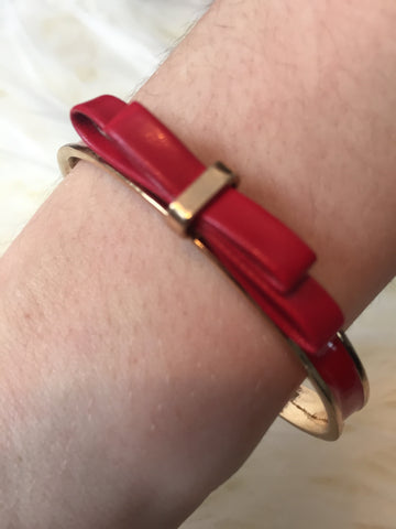 KATERINA• BRACELET ~ Feminine & Flirty Red Faux Leather Bow Bangle With Red Enamel And Gold Trim