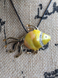 ADELAIDE • NECKLACE ~ Yellow and Gold Fish Pendant With Black Faux Leather Rope Chain