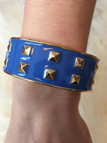 S A S H A • BRACELET ~ Beautiful Blue Enamel With Gold Rock Studs