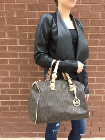 Michael Kors Large Signature Duffel with Iconic MK logo Tan And Gold Accents