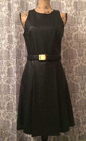 Michael Kors Black Perforated Leather Dress With Belt NWT Women's Size 4
