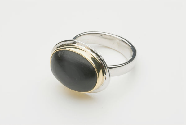 Matte jet cabochon platform ring by Wyckoff Smith Jewellery.