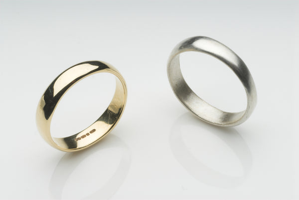 Emma Wedding Ring - Soft D shape wedding ring with polished or matte texture.