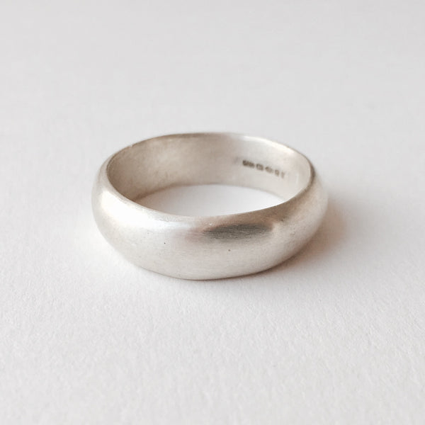 Wide D Shape organic shape silver wedding ring by Michele Wyckoff Smith on www.wyckoffsmith.com.