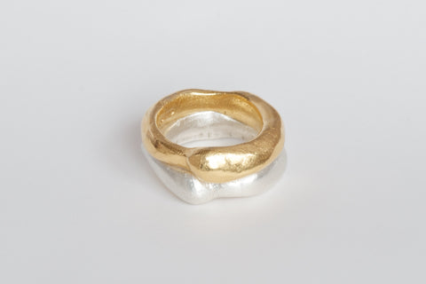 Gold and silver stacking Curved Zen rings by Michele Wyckoff Smith