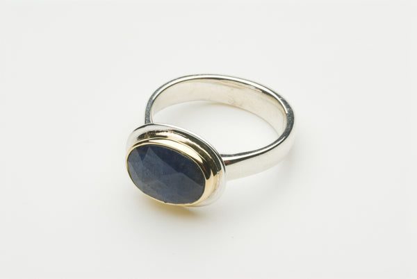 Faceted blue sapphire platform ring by Michele Wyckoff Smith.