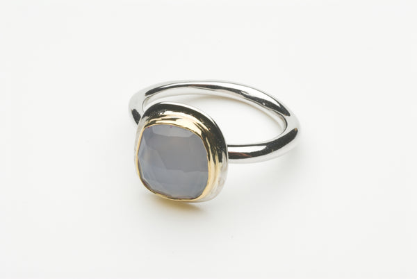 Pale blue chalcedony platform ring by wyckoffsmith.com.