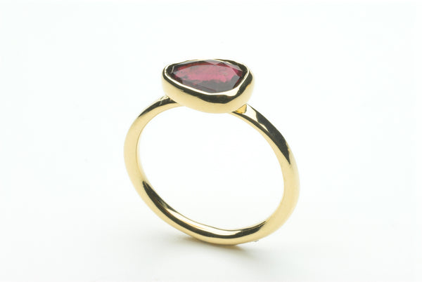 Pink tourmaline ring in gold setting by Michele Wyckoff Smith.