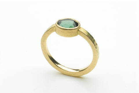 Green faceted tourmaline 18 ct ring by Michele Wyckoff Smith.