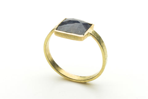 Square sapphire and 18 ct gold ring by Michele Wyckoff Smith.