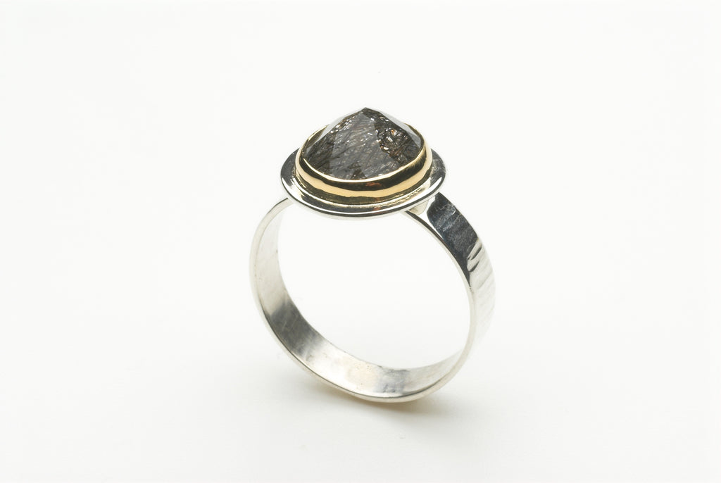 Rutilated Quartz and Textured Silver Ring