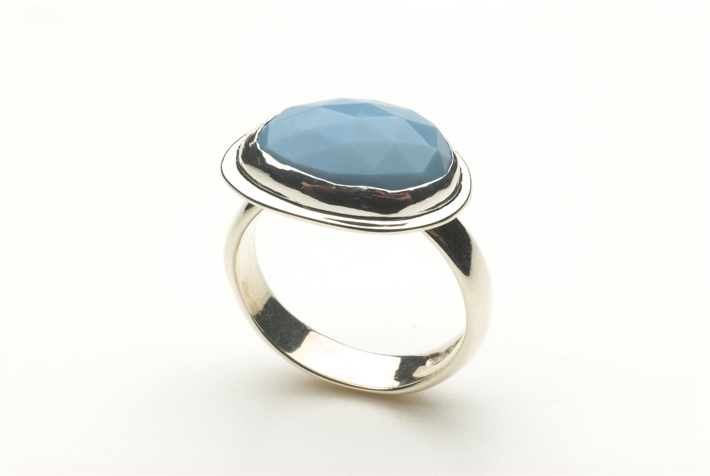 Oval Faceted Blue Opal Ring