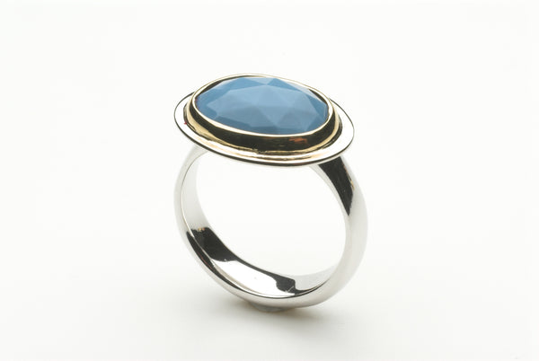 Blue Opal platform ring by Michele Wyckoff Smith.