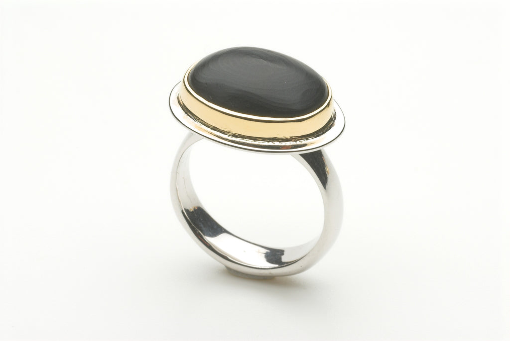 Matte Black Jet ring by Michele Wyckoff Smith