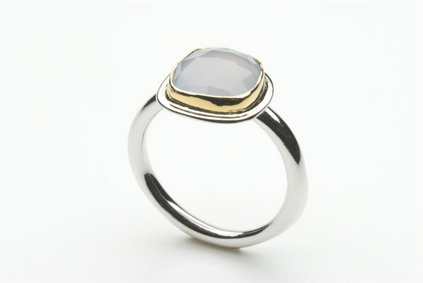 Pale blue chalcedony platform ring by Michele Wyckoff Smith.