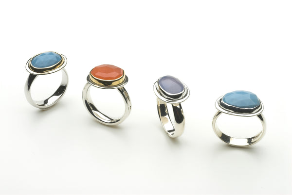 Assorted platform rings by Michele Wyckoff Smith.