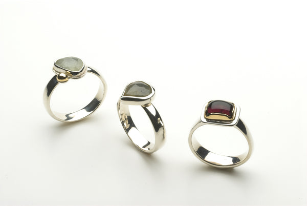Grey sapphire or pink tourmaline silver and gold rings by Michele Wyckoff Smith.