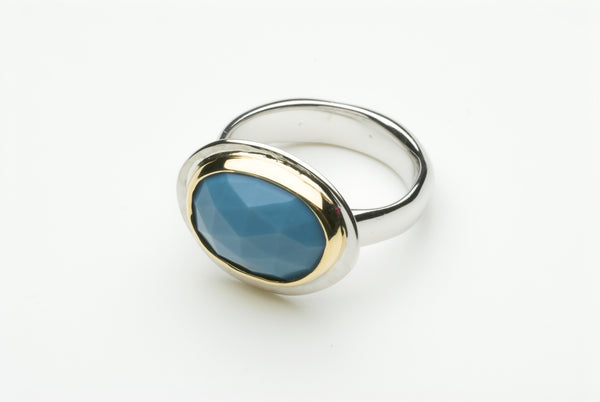 Blue opal silver and gold platform ring by Michele Wyckoff Smith.
