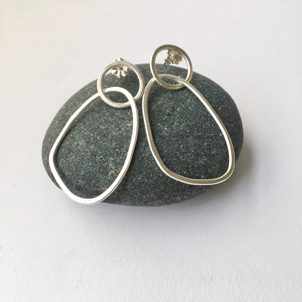 Abstract oval in circle silver dangle earring by Michele Wyckoff Smith