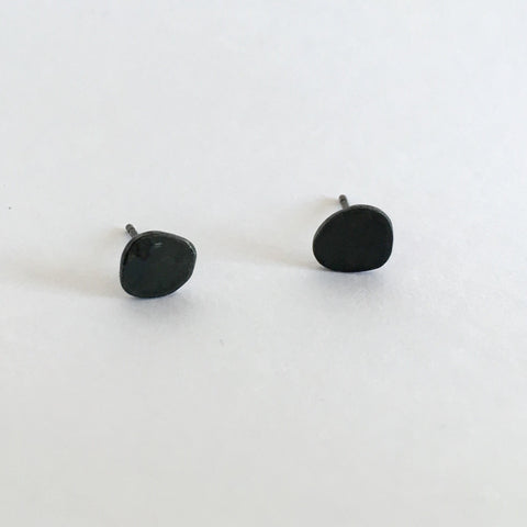 Small Black Sterling Silver Organic Pebble Shape Earrings