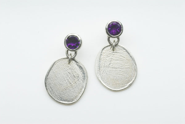 Faceted Amethyst Silver Dangle Earrings