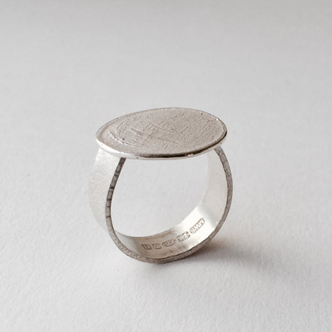 Textured Oval Silver Ring