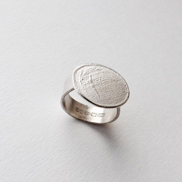 SALE: Textured Oval Silver Ring
