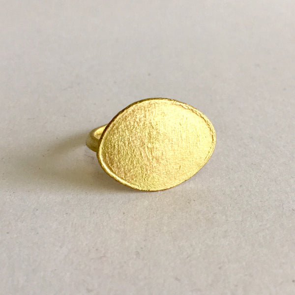 Textured Gold Disc Pendant Necklace