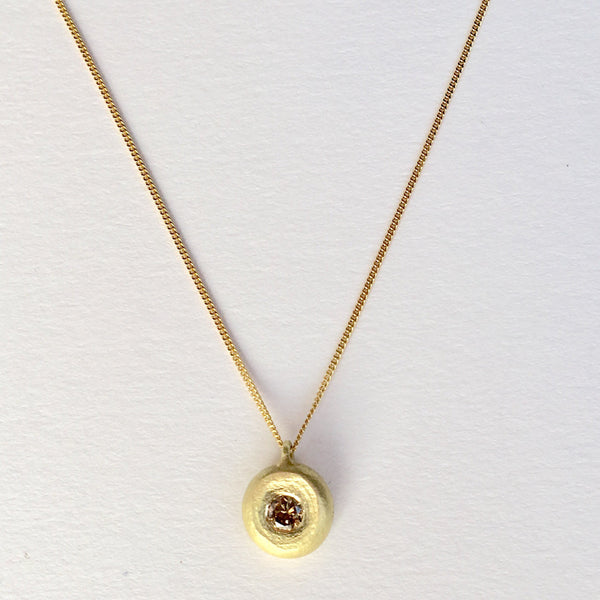 18 ct gold and champagne diamond pendant